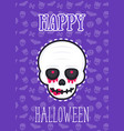 halloween poster card with scary skull vector image vector image