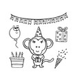 hand-drawn monochrome monkey birthday man vector image
