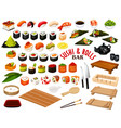 japanese cuisine from sushi and rolls bar vector image