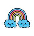 kawaii rainbow cloud cute decoration cartoon vector image vector image