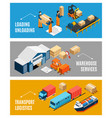 logistics isometric banners set vector image vector image