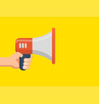 male hand holding megaphone flat design vector image