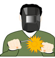 man welder in mask works with welding vector image