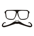 Men face with long mustache and big glasses vector image