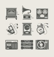 musical device set icon vector image vector image