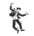 optimistic man falling sketch vector image