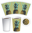 paper cup template for hot drinks with pineapples vector image