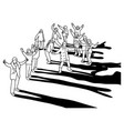 people standing together with cold weather vector image vector image