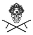 policeman skull with crossed police batons vector image vector image