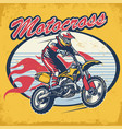 retro motocross design badge vector image vector image