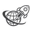 retro rocket space ship success concept vector image