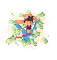 rich smiling man bathing in money vector image vector image
