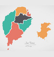 sao tome and principe map with states vector image