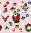 seamless christmas cartoon pattern vector image vector image