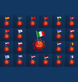 set europe country flag pinned to a coronavirus vector image