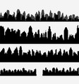 set of black different horizontal cityscape vector image