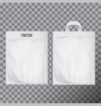 set of empty white blank plastic bag mock up vector image vector image