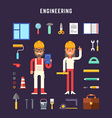 Set of Icons and in Flat Design Style Engineering vector image