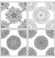 Set of Mandala Seamless Patterns Black and white vector image vector image