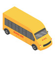 small school bus icon isometric style vector image vector image