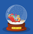 snow glass globe with coach or sleigh inside vector image