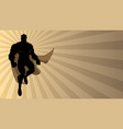 superhero flying ray light silhouette 2 vector image vector image
