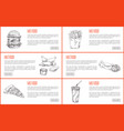 take away or fast food icon set for landing page vector image vector image