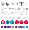 tattoo drawing on the body flat icons in set vector image