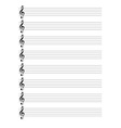 Treble Clef Staves vector image vector image
