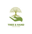 tree and hand logo vector image