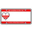 washington dc license plate vector image vector image