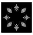 white halftone ethereum radial icon vector image