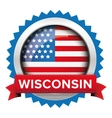 Wisconsin and USA flag badge vector image vector image