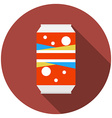 Flat design modern of soda can icon with long vector image