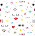 colorful modern retro feminine fun icons pattern vector image