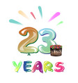 happy anniversary 23 years vector image