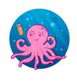 pink cartoon octopus octopus athlete vector image