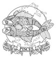 pisces zodiac sign coloring book vector image
