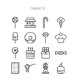 Set of simple icons with sweets and candis vector image