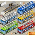 Bus Set 01 Vehicle Isometric vector image