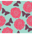 seamless pattern with roses and butterflies vector image