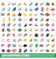 100 shopping icons set isometric 3d style vector image vector image