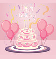 a birthday cake on pink background vector image vector image