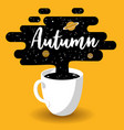 autumn design cup fresh coffee with galaxy vector image
