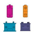 battery icon set color outline style vector image