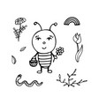 black-and-white bee the gardener with a basket vector image vector image