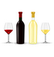 bottles red and white wine with glasses vector image
