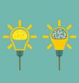 brain in light bulb vector image