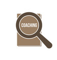 coaching word magnifying glass vector image