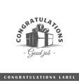 congratulation label vector image vector image